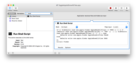 Automator: Toggle visibility of hidden files